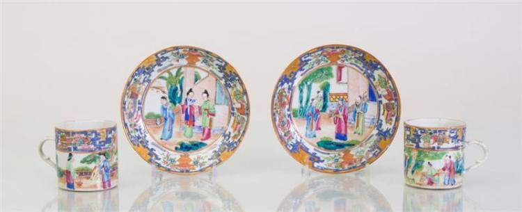 PAIR OF CHINESE EXPORT PORCELAIN COFFEE CUPS AND SAUCERS