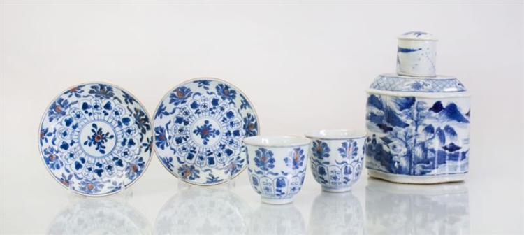 PAIR OF CHINESE BLUE AND WHITE PORCELAIN TEACUPS AND SAUCERS, AND A CHINESE BLUE AND WHITE PORCELAIN TEA CADDY