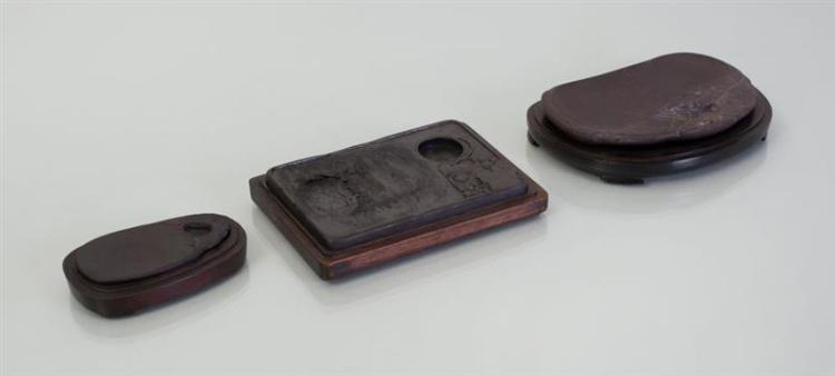 THREE CHINESE INKSTONES