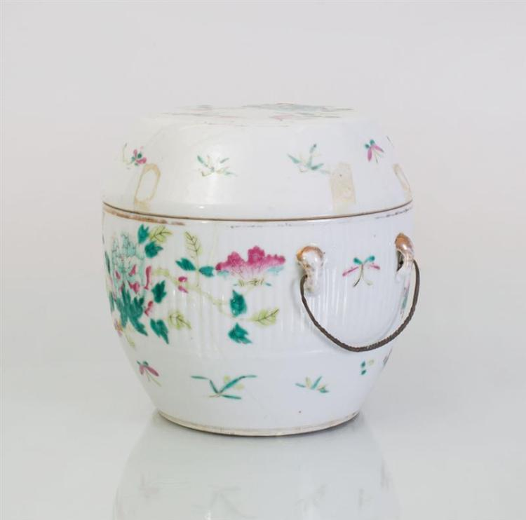 CHINESE FAMILLE ROSE PORCELAIN BOWL AND COVER