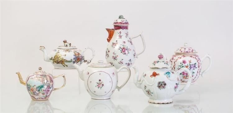 FIVE CHINESE EXPORT PORCELAIN TEAPOTS AND A COFFEE POT