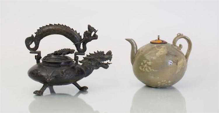 KOREAN GREEN GLAZED TEAPOT AND AN ASIAN IRON TEAPOT AND COVER