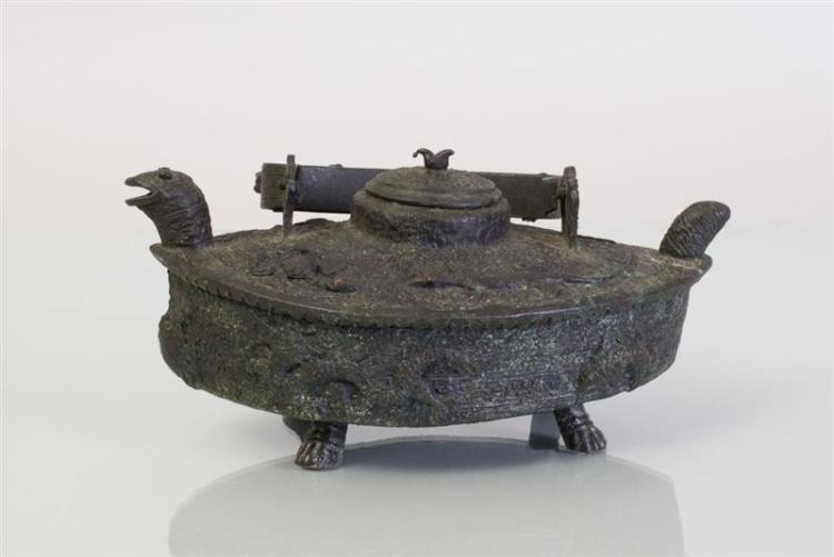 BRONZE TURTLE-FORM TEAPOT, POSSIBLY NAGA TRIBE