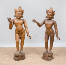 TWO SIMILAR INDIAN CARVED HARDWOOD FIGURES