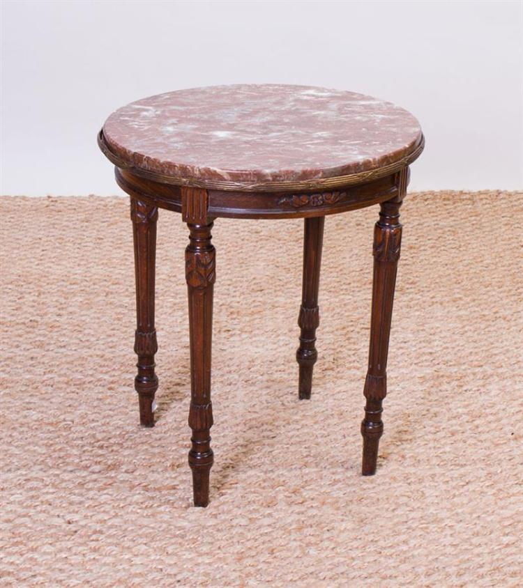 LOUIS XVI STYLE GILT-METAL-MOUNTED STAINED OAK END TABLE