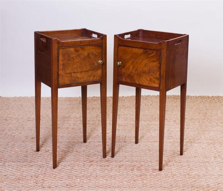 PAIR OF GEORGE III STYLE MAHOGANY POT CUPBOARDS