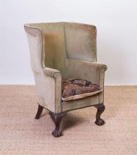 COLONIAL REVIVAL CARVED MAHOGANY WING CHAIR