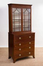 GEORGE III MAHOGANY AND TULIPWOOD CROSS-BANDED FULL SECRETARY BOOKCASE