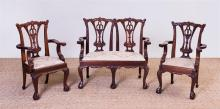 SET OF GEORGE III STYLE CARVED MAHOGANY CHILDREN'S FURNITURE