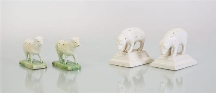 TWO PAIRS OF CONTINENTAL CREAMWARE TOOTHPICK HOLDERS