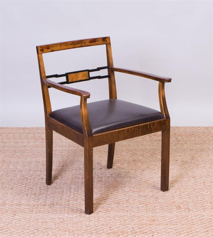 ART DECO STAINED BIRCH AND EBONIZED ARMCHAIR, POSSIBLY SWEDISH