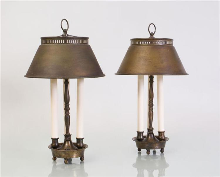 PAIR OF THREE-LIGHT TÔLE TABLE LAMPS