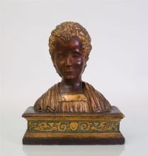ITALIAN PAINTED AND PARCEL-GILT BUST OF A BOY