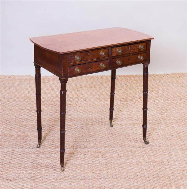 REGENCY MAHOGANY AND EBONY-INLAID FOUR-DRAWER SIDE TABLE
