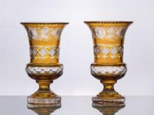 PAIR OF AMBER CASED CUT-GLASS URNS