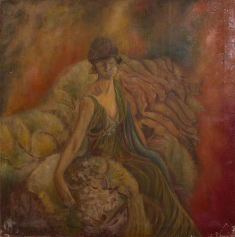 20TH CENTURY SCHOOL: SEATED WOMAN
