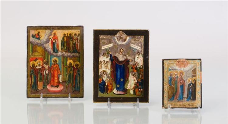 THREE RUSSIAN PAINTED WOOD ICONS