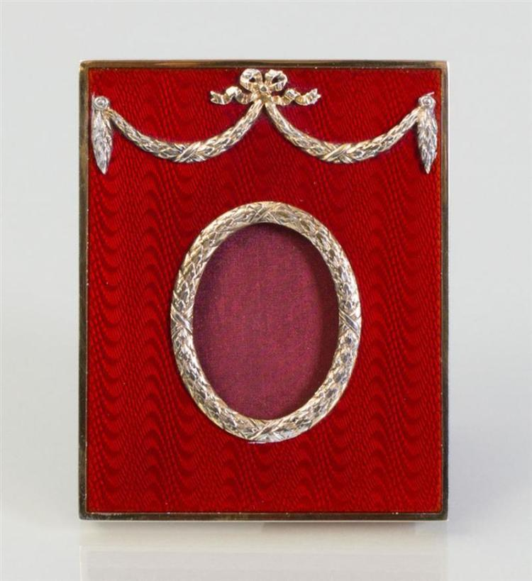 ITALIAN SILVER-GILT AND RED ENAMEL PICTURE FRAME