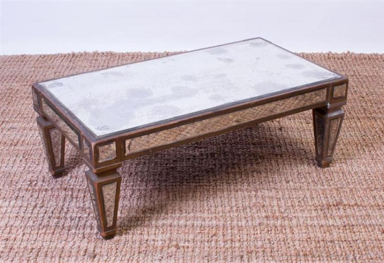 MODERN MIRRORED AND GILTWOOD LOW TABLE
