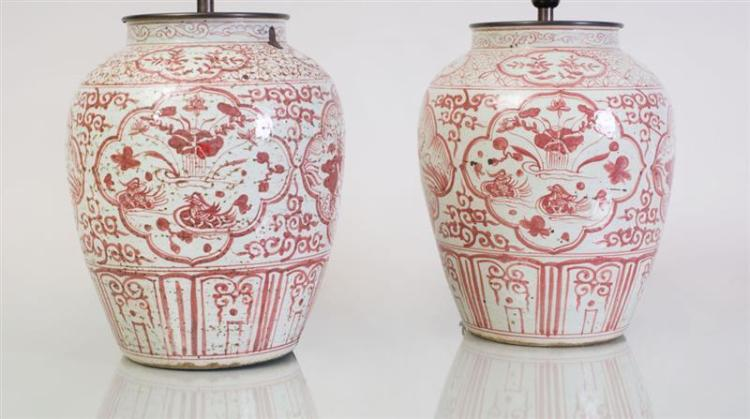 PAIR OF VIETNAMESE IRON-RED DECORATED POTTERY VASES MOUNTED AS LAMPS