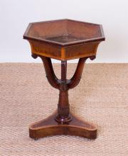 GEORGE III STYLE INLAID MAHOGANY PLANT STAND