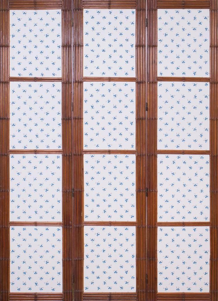 FAUX BAMBOO AND WALLPAPER THREE-PANEL SCREEN