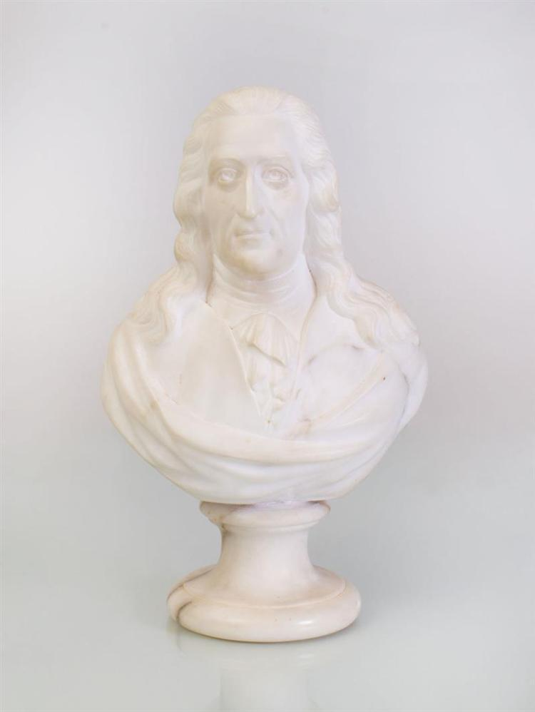 MARBLE BUST OF VOLTAIRE