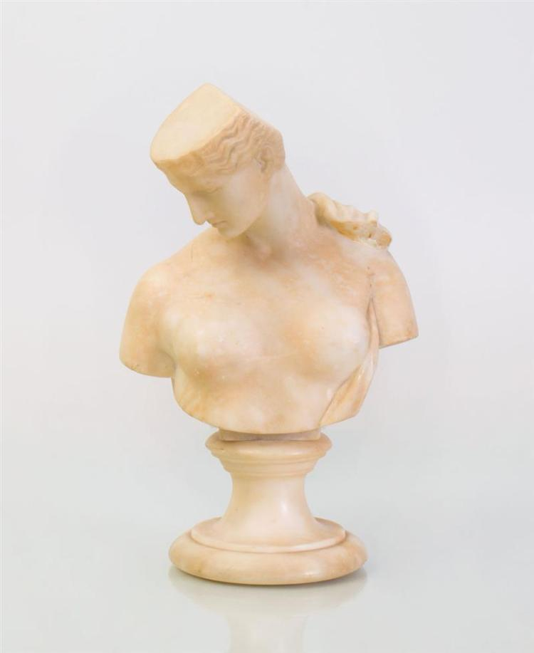 MODERN MARBLE BUST OF A WOMAN ON A SOCLE, AFTER THE ANTIQUE