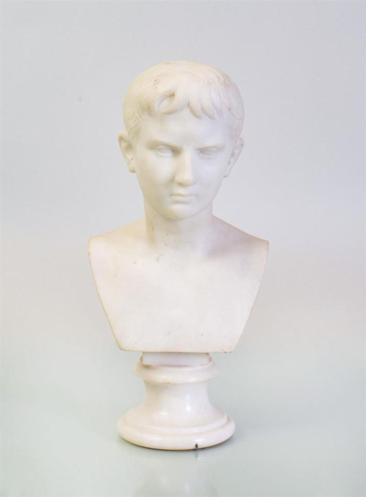 CONTINENTAL WHITE MARBLE BUST OF AUGUSTUS CAESAR