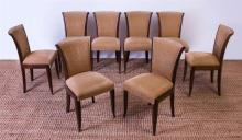 SET OF EIGHT FRENCH ART DECO STYLE STAINED MAHOGANY UPHOLSTERED DINING CHAIRS