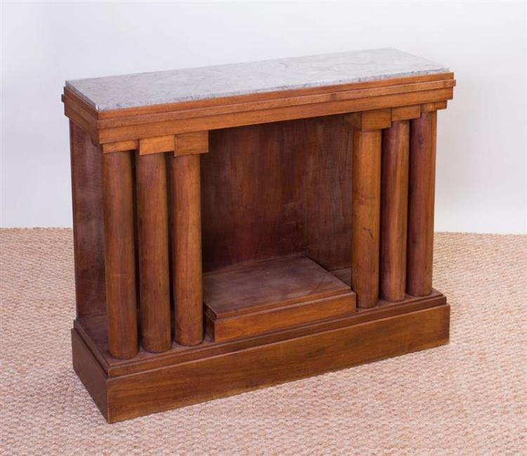 NEOCLASSICAL STYLE MAHOGANY AND WALNUT CONSOLE