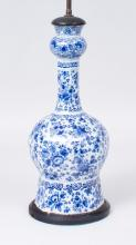 DUTCH DELFT GARLIC-MOUTHED VASE MOUNTED AS A LAMP