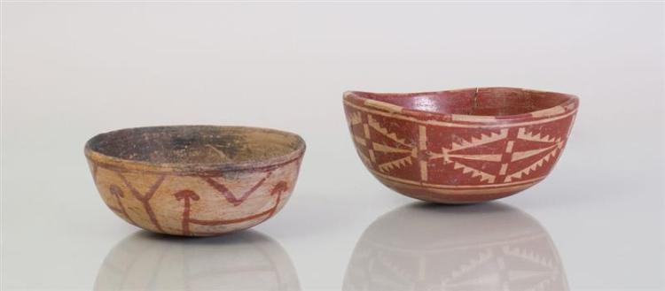 TWO PAINTED POTTERY BOWLS