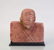 PRIMITIVE RED PAINTED PLASTER BUST OF A MAN