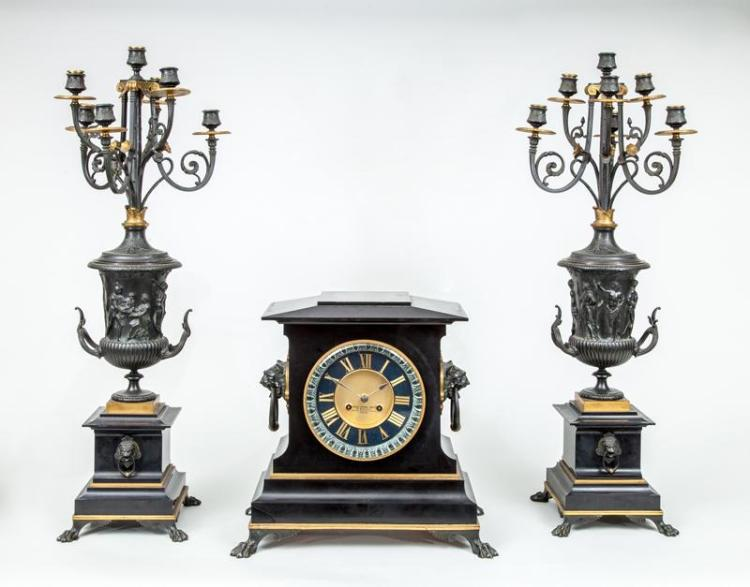 NAPOLEON III BRONZE AND BLACK MARBLE THREE-PIECE CLOCK GARNITURE