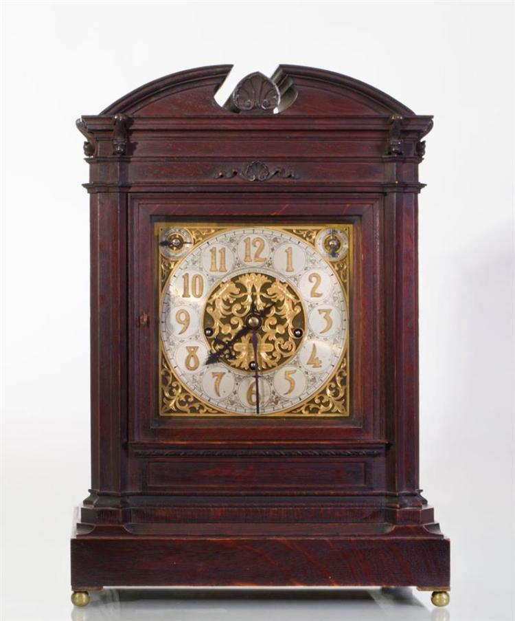 BAILEY, BANKS AND BIDDLE OAK GEORGIAN STYLE MANTLE CLOCK