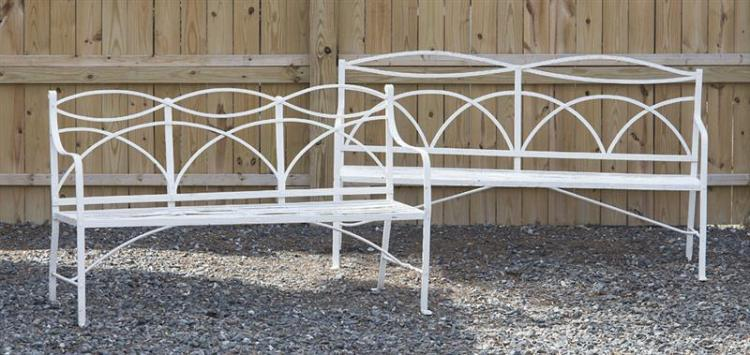 TWO PAINTED IRON GARDEN BENCHES