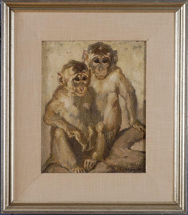 CORNELIS JAN MENSION (1882-1950): TWO MONKEYS