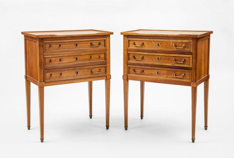 pair of louis xvi style brass mounted walnut tables de cheve. Black Bedroom Furniture Sets. Home Design Ideas