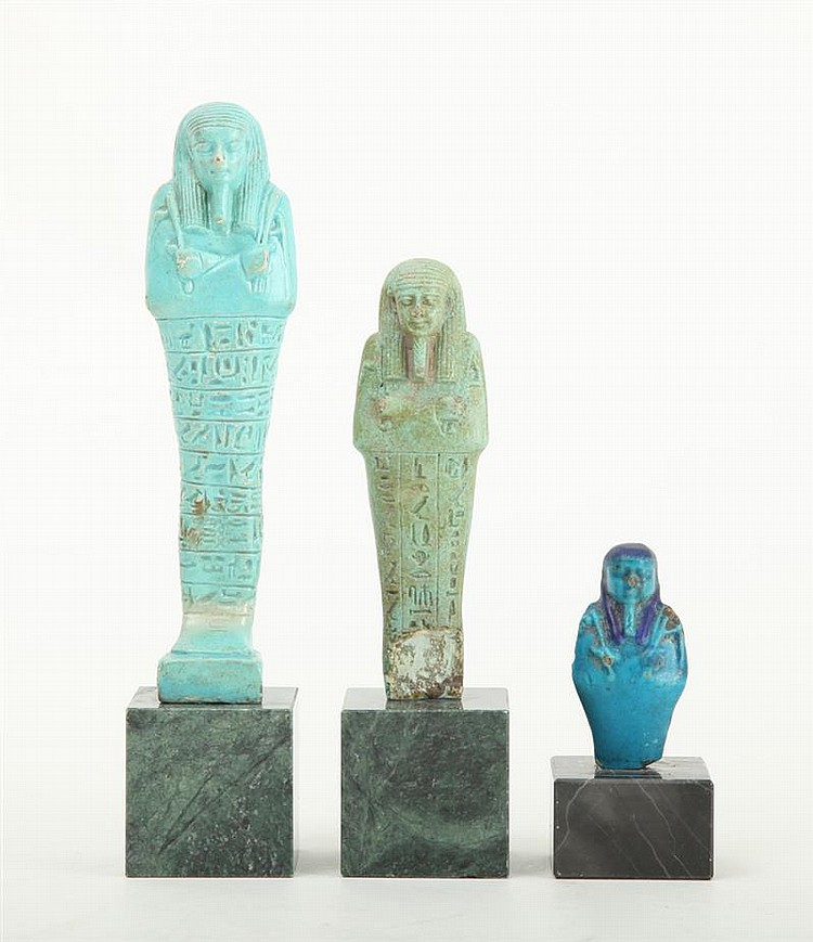 Three egyptian turquoise glazed faience ushabti for Faience turquoise