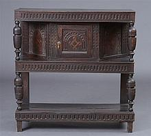 Charles I Style Stained Oak Court Cupboard