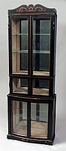 Regency Black Painted and Parcel-Gilt Display Cabinet