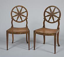 Pair of George III Style Painted and Caned Side Chairs