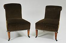 Near Pair of Victorian Walnut Upholstered Slipper Chairs