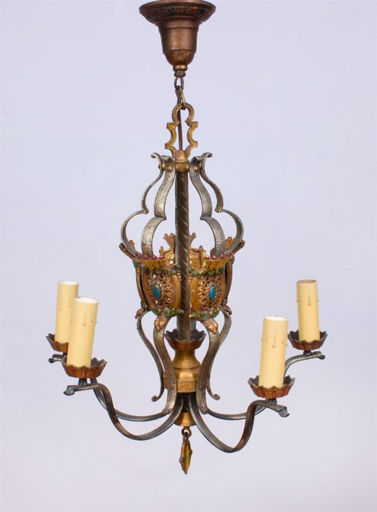 Spanish revival style polychrome metal five light chandelier for Spanish revival lighting fixtures