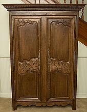 Large Louis XV Style Carved and Stained Oak Armoire