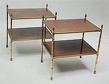 Pair of Brass and Mahogany Two-Tier Side Tables, Modern