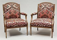 Pair of Louis XVI Style Carved and Stained Fauteuils à La Reine