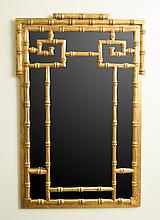 Chinese Inspired Faux Bamboo Giltwood Mirror
