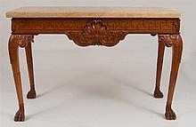 George II Style Carved Mahogany Center Table with Marble Top